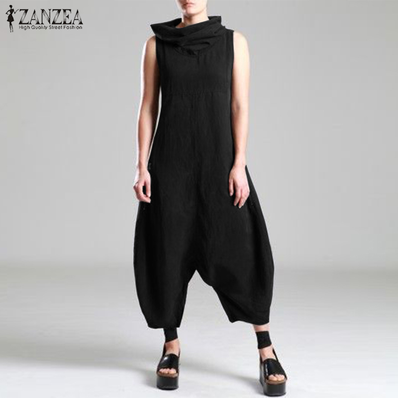 024839240411 2019 Plus Size ZANZEA Summer Women Solid Turtleneck Sleeveless ...