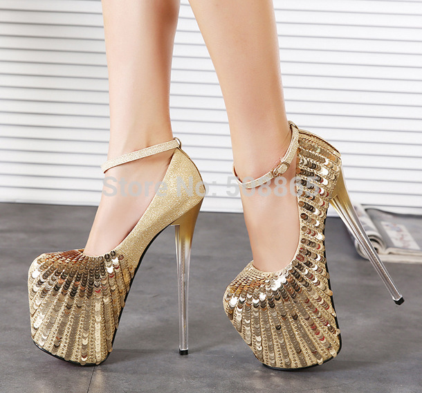 Aliexpress.com : Buy 20CM high heel women gold glitter shoes pumps
