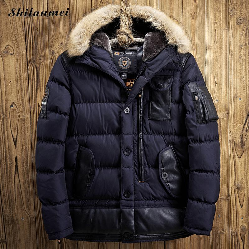 2017 Men's Thick Winter Parka Hooded Coat Down Parkas Jackets Male Fur Collar Parkas Warm Jacket Men Military Down Overcoat Army thickening warm fur collar winter coat new 2016 women clothes lamb wool jacket hooded parka army green overcoat xl a3878