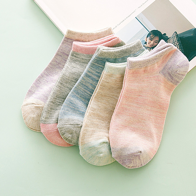 Spring Summer Comfortable Invisible Korean  Boat Socks Woman Cotton Woman Girl Boy Slipper Casual Hosiery 1pair=2pcs Ws110