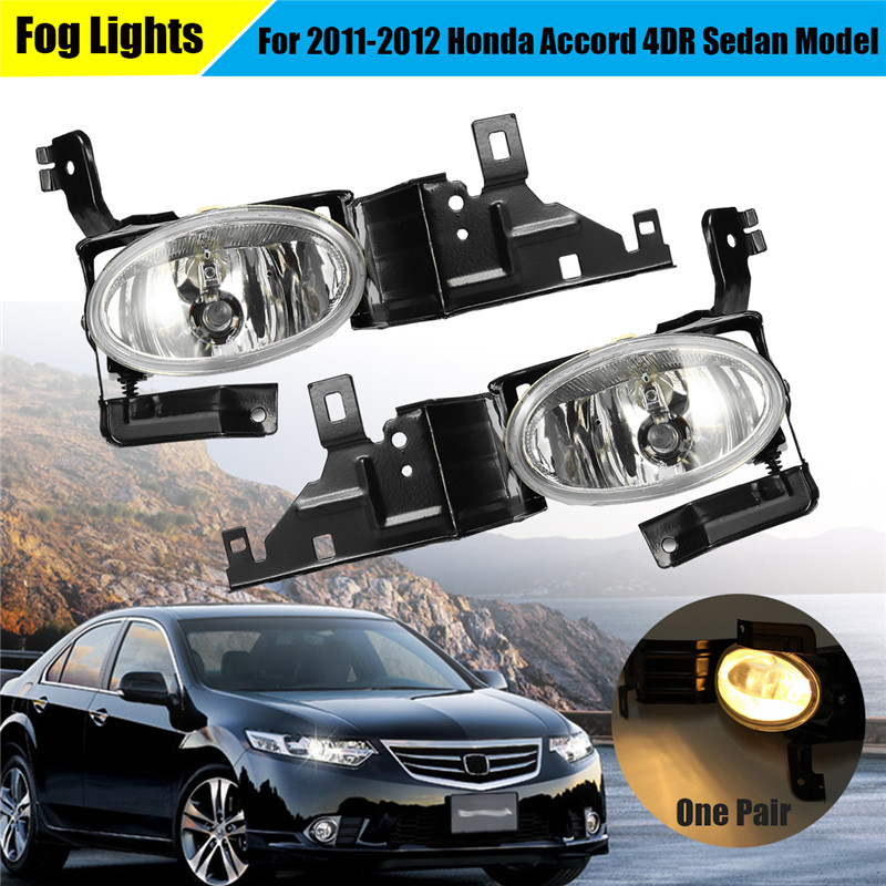 1 Pair Clear Driving 12V 9W Non-corrosive Clear Housing Fog Lights Lamps Set + Switch for Honda for Accord 2011-2012 4DR Sedan red clear tail lights led brake 1 pair lh rh fit for honda accord 2013 2014 2015 4 door sedan