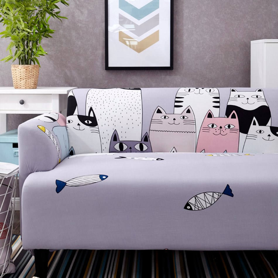 Universal Elastic Cat Printed Couch Cover Lovely Style Multi Size Slipcover For Section Sofa Living Room Stretch Furniture