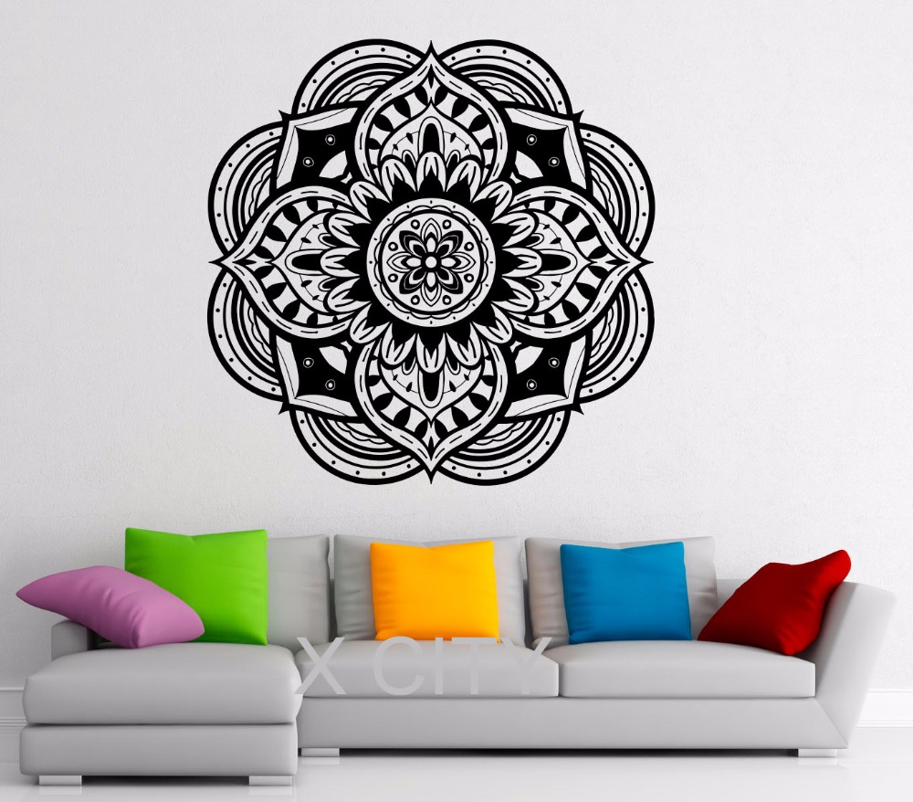 Wall Sticker Mandala Indian Pattern Vinyl Decal Namaste Yoga Decor Home Interior Design Office GYM Dorm Living Room Art Murals
