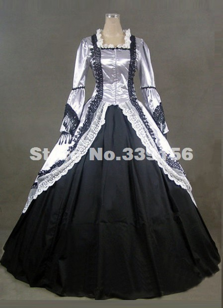2016 New White And Black Long Sleeves Lace Victorian Gothic Gowns Marie Antoinette Civil War Southern Belle Ball Gown Dress