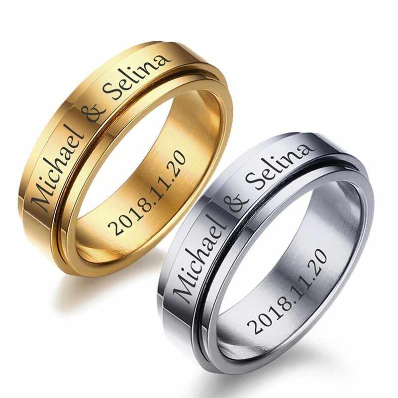 Vnox ฟรีที่กำหนดเองแกะสลัก SPINNER แหวนสำหรับผู้ชายผู้หญิง 6mm สแตนเลส Rotatable งานแต่งงานบันทึกชื่อวันที่ Anel anillos