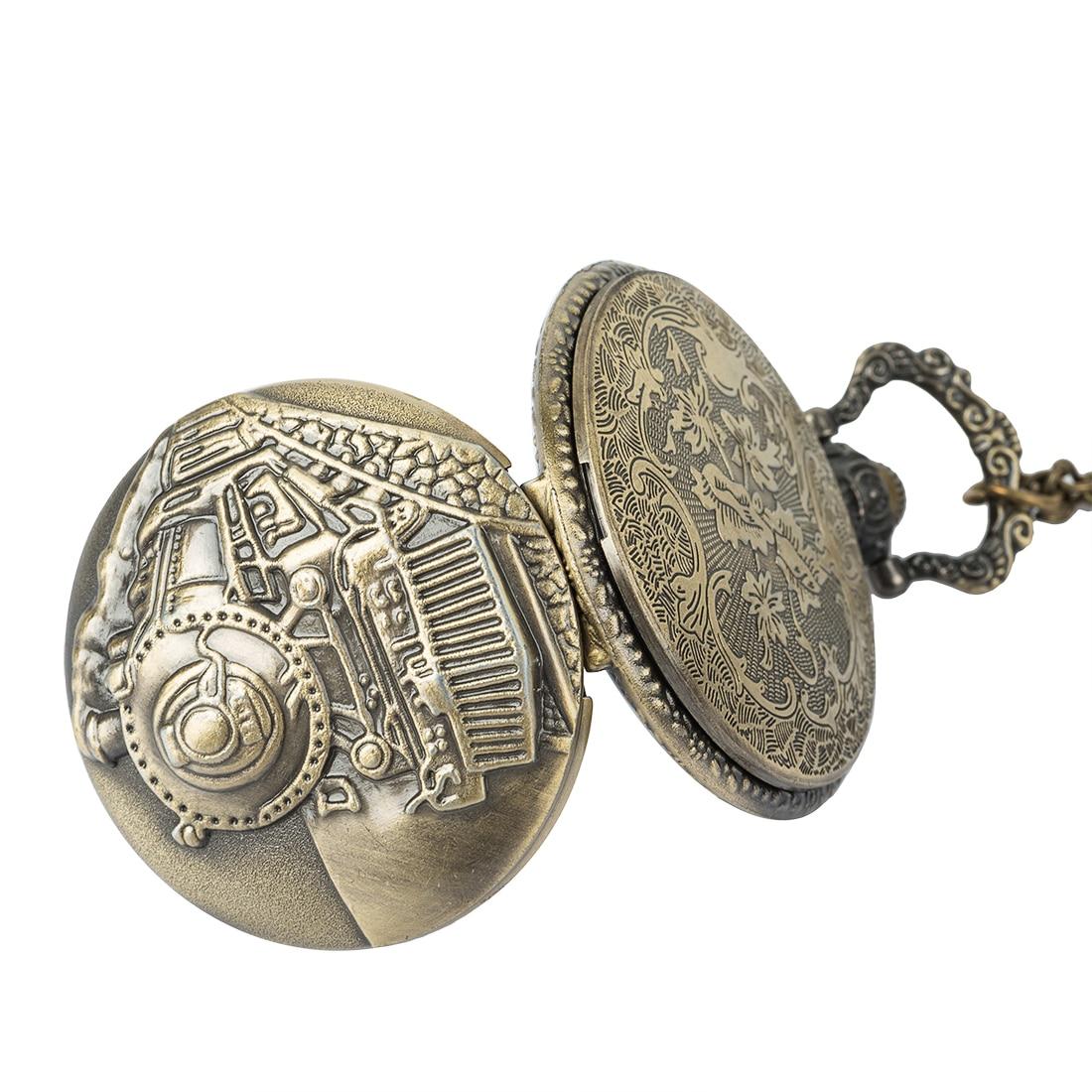 Steampunk Vintage Antique Retro Bronze Train Front Locomotive Engine Railway Quartz Pocket Watch Chain Men Women in Pocket Fob Watches from Watches