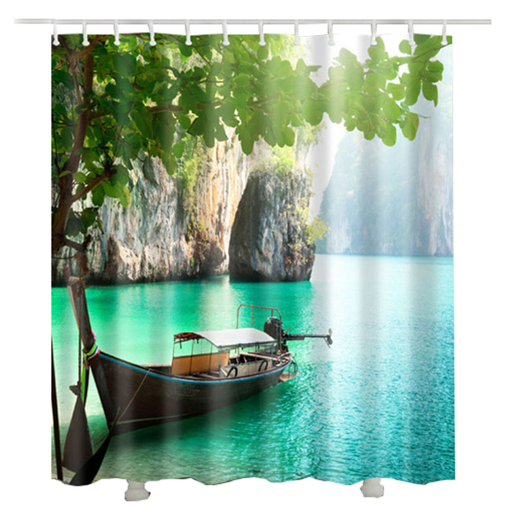 lake boat bath room curtain 3D polyester fabric waterproof green tree mountain shower curtain 2017