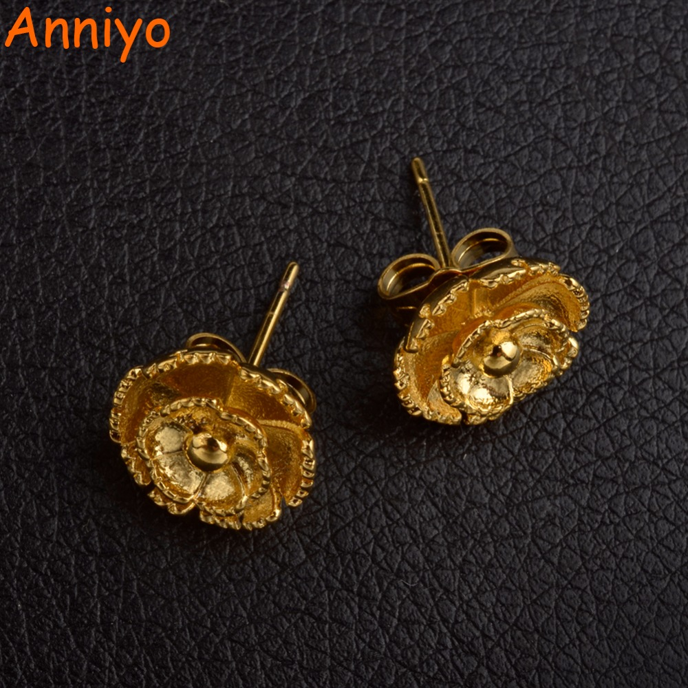 Anniyo SMALL SIZE Gold Color Flower Earrings Girls/Women,Wholesale Trendy Earring Jewelry Gifts #006607