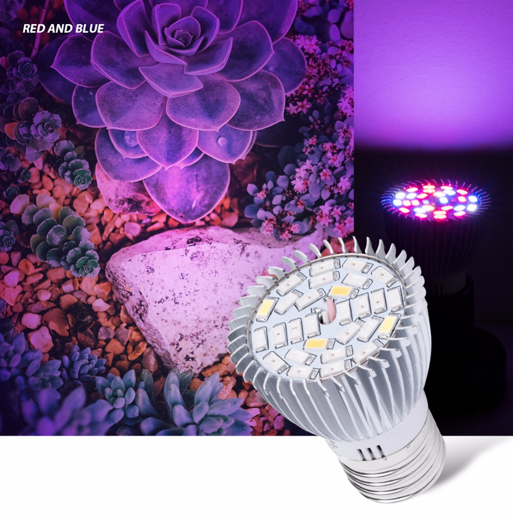 E27 Full Spectrum LED Grow Light for Plant 18W 28W E14 Led Phyto Lamp SMD 5730 Aluminum Fitolampy Lamp Red Blue UV IR AC 85-265V