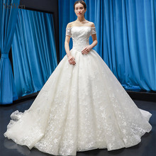 YEWEN Arabic Luxury Wedding Dresses 2019 Boat-neck Tulle
