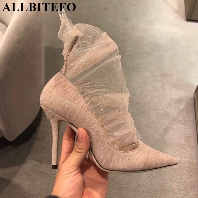 ALLBITEFO fashion sexy lace women high heel shoes Spring girls high heels shoes woman party wedding