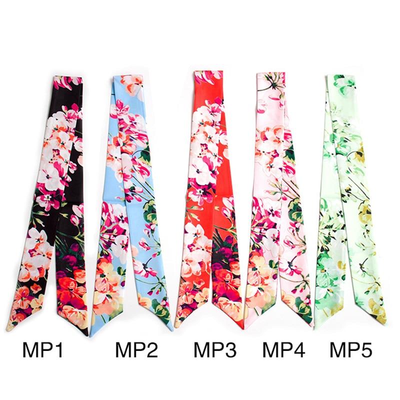 Faithful Fashion Kerchief Butterfly Flower Print Scarf Foulard Women Hairband Bags Handbag Ribbons Scarves Neck Hand Wraps