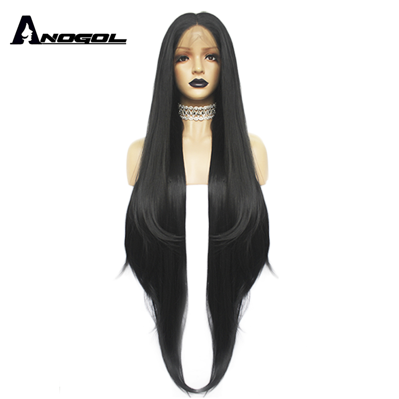 Anogol Long Natural Wave Middle Part High Temperature Fiber Glueless Black Synthetic Hair Lace Front Wigs