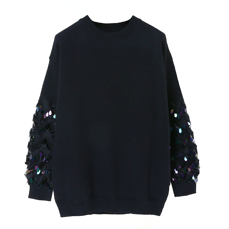 Luxury Brand Designer Runway Sweater 2018 Autumn Winter Fashion 3D Sequin Beading Embroidery Silk Pullovers and Sweaters Tops