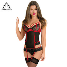 TOPMELON Mulheres Roupa Interior Sexy Bodysuit Shapewear Emagrecimento Shapers Cinto Floral Push Up Cortar Lingerie Pijamas roupa