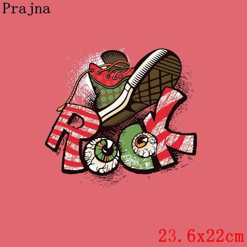 Prajna Rock música Etiqueta de transferencia de hierro en calcomanías Cool zapatos Transferencia de Calor dibujos animados apliques impresos para ropa nuevo estilo 2018