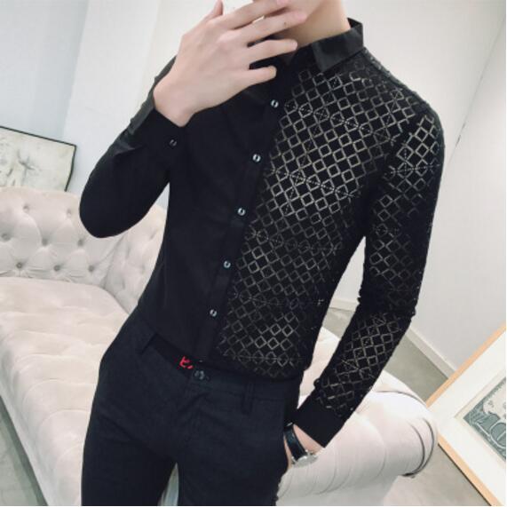 Wedding White Or Blue Shirt: Men 2018 New Black White Transparent Shirt White Lace