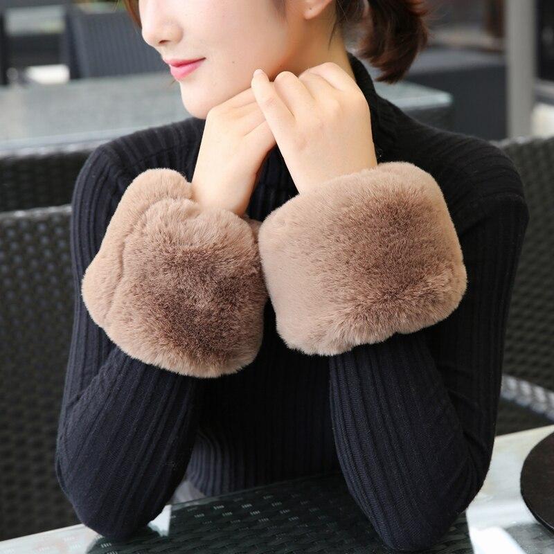 Fashion Lady Accessories Apparel Warmers Cuff Pure Dream Fake Cuffs Oversized Faux Rabbit Hair Fur Cuff Hair Bracelet Wrist Hand