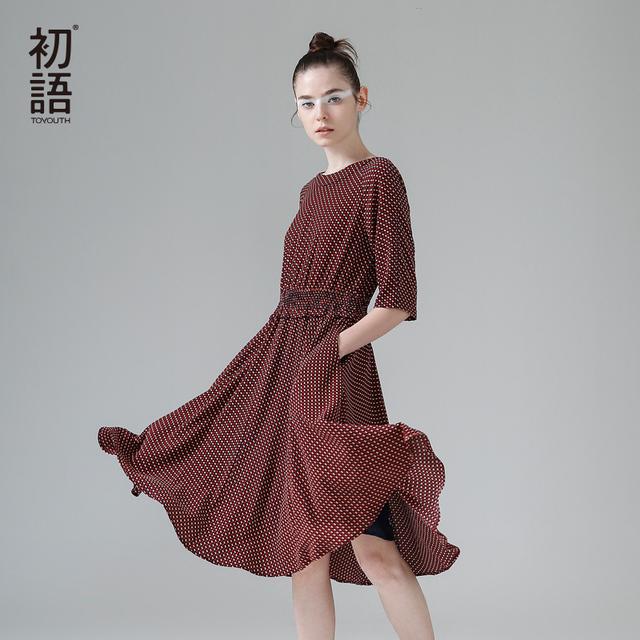 Toyouth dress 2017 primavera nuevas mujeres de media manga una línea de señora vintga dot impreso o-cuello vestidos largos