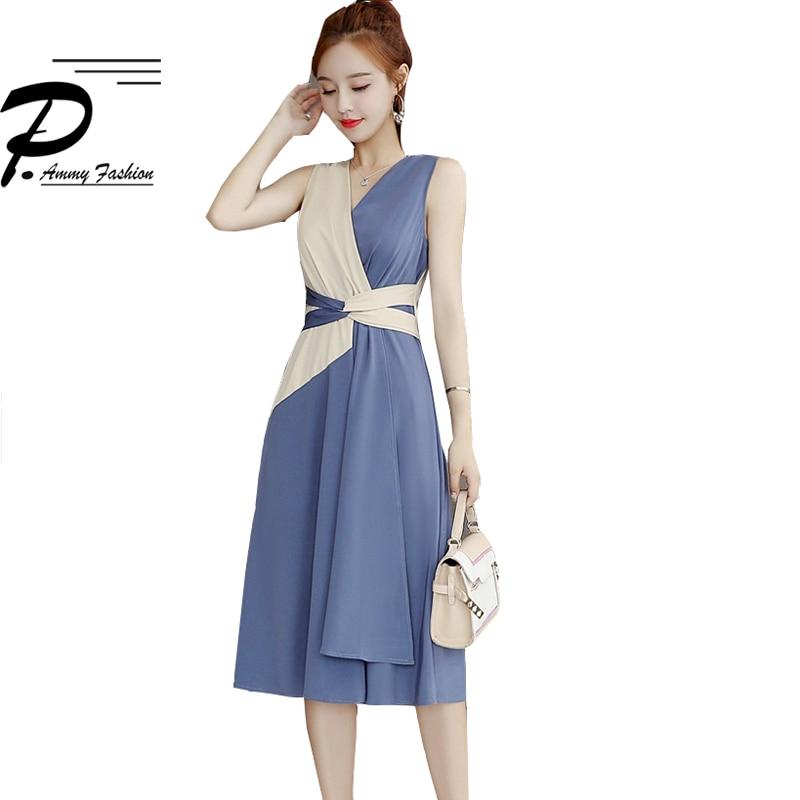 Color Matching Slim Party Dress Women 2019 V Neck Sleeveless Elegant vestidos stitching dress female fashion waist Tie dresses
