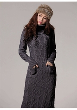 New winter sweater dress with high collar hedging long paragraph sweater twist casual dresses thick warm women dresses DM565