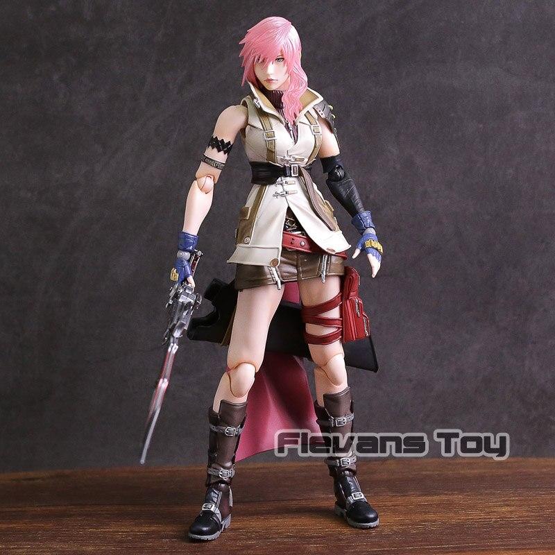 купить Genuine Play Arts KAI Dissidia Final Fantasy Lightning Eclair Farron PVC Action Figure Collectible Model Toy по цене 6211.33 рублей