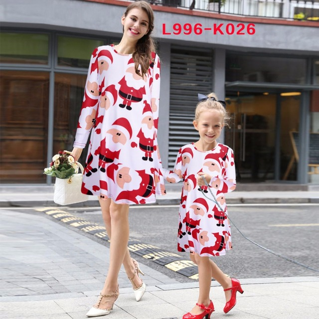 christmas dresses family matching clothes mother daughter dress mommy and me family look long sleeve outfits