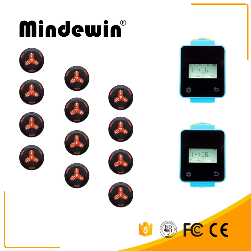 Wireless Calling System Sound Vibrating Touch Screen Watch Pager 2 Pcs and 12 Pcs Call button 2 pcs 15mmx13mmx1000mm 100