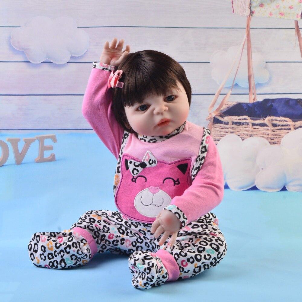 55 cm Silicone corps Reborn bébé poupée jouet comme réel 22 pouces nouveau-né fille princesse bébés poupée bain jouet enfant cadeau bebe poupée - 5