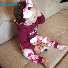 Wisefin Childen Clothing Set For Girl Long Sleeve Wine Red Toddler Baby Outfit Autumn Spring Kdis Clothes Hoodie + Pant