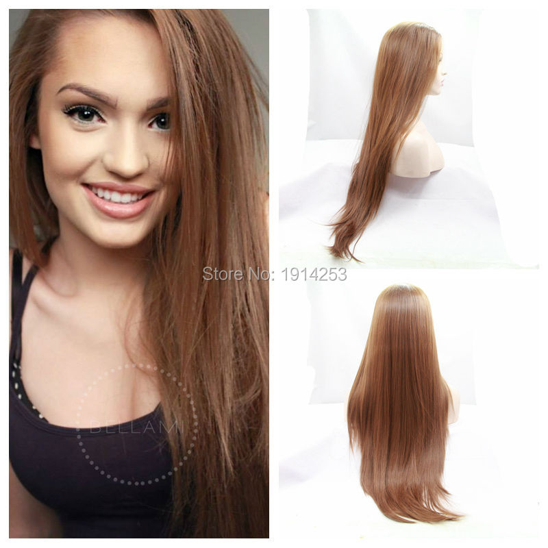Natural Looking Silky Straight Light Brown Wigs Synthetic