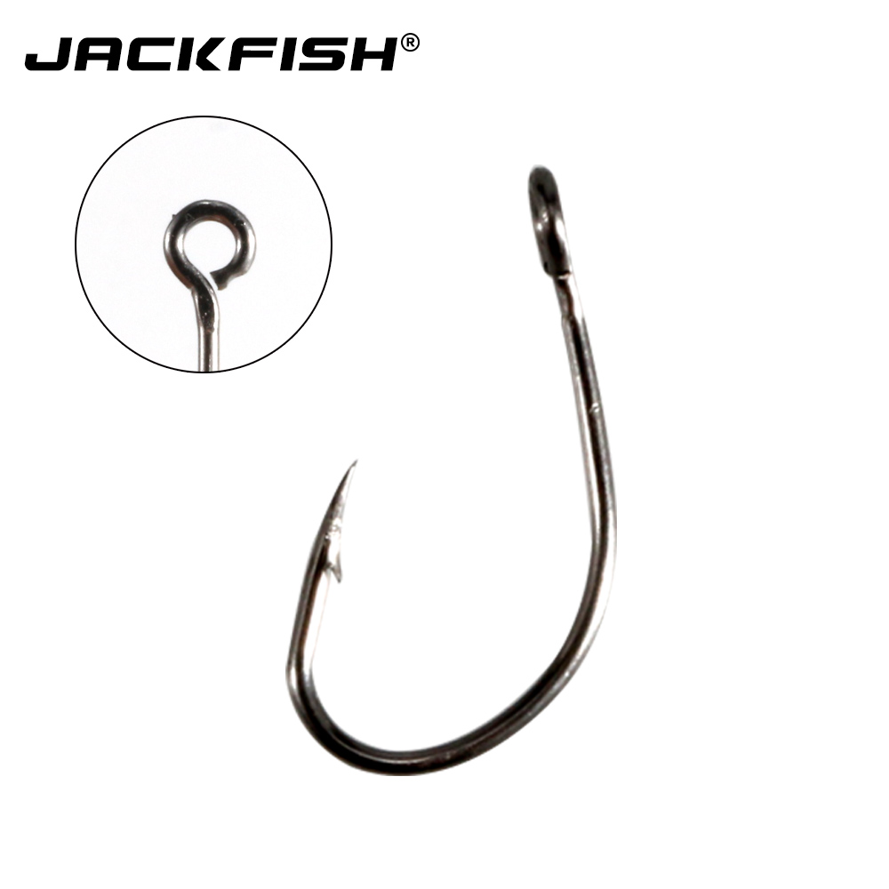 JACKFISH high carbon steel <font><b>fishing</b></font> <font><b>hook</b></font> <font><b>100pcs</b></font>/lot #4~#12 Barbed fishhook jig head carp <font><b>Fishing</b></font> Gear Accessories image