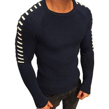 2019 Men's Knit Sweaters Round Neck Pullover Long Sleeve Male Sweater Shoulder Pleated Men's Fashion Top Sweater Men Clothing(China)