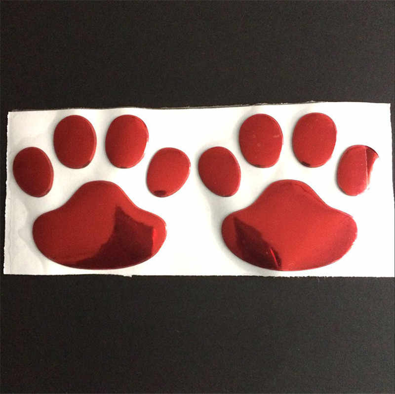 2 unids/set etiqueta engomada del coche fresco diseño pata 3D perro Animal oso gato huellas de patas huella posterior tronco ventana parachoque casco etiqueta