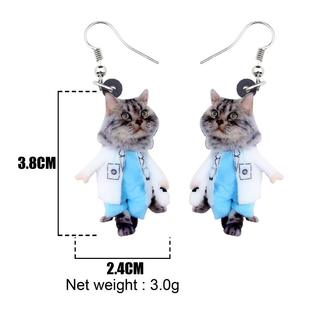 WEVENI อะคริลิคแฟชั่นชุดแมวแมวต่างหูใหญ่ยาว Dangle DROP เครื่องประดับสำหรับผู้หญิงหญิงสุภาพสตรีอุปกรณ์เสริม