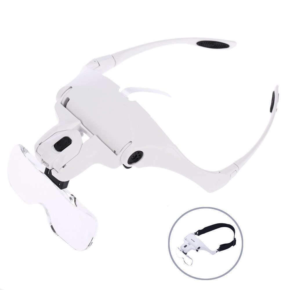 Headband Magnifier Head-mounted With 2 LED Light Hands Free Magnifying Glasses Loupe Visor For Electronics Watch Repair Jewelry free shipping headband glasses magnifier led head light magnifying glass at once 2 pieces 5 groups of lenses loupe 2017 81001 g