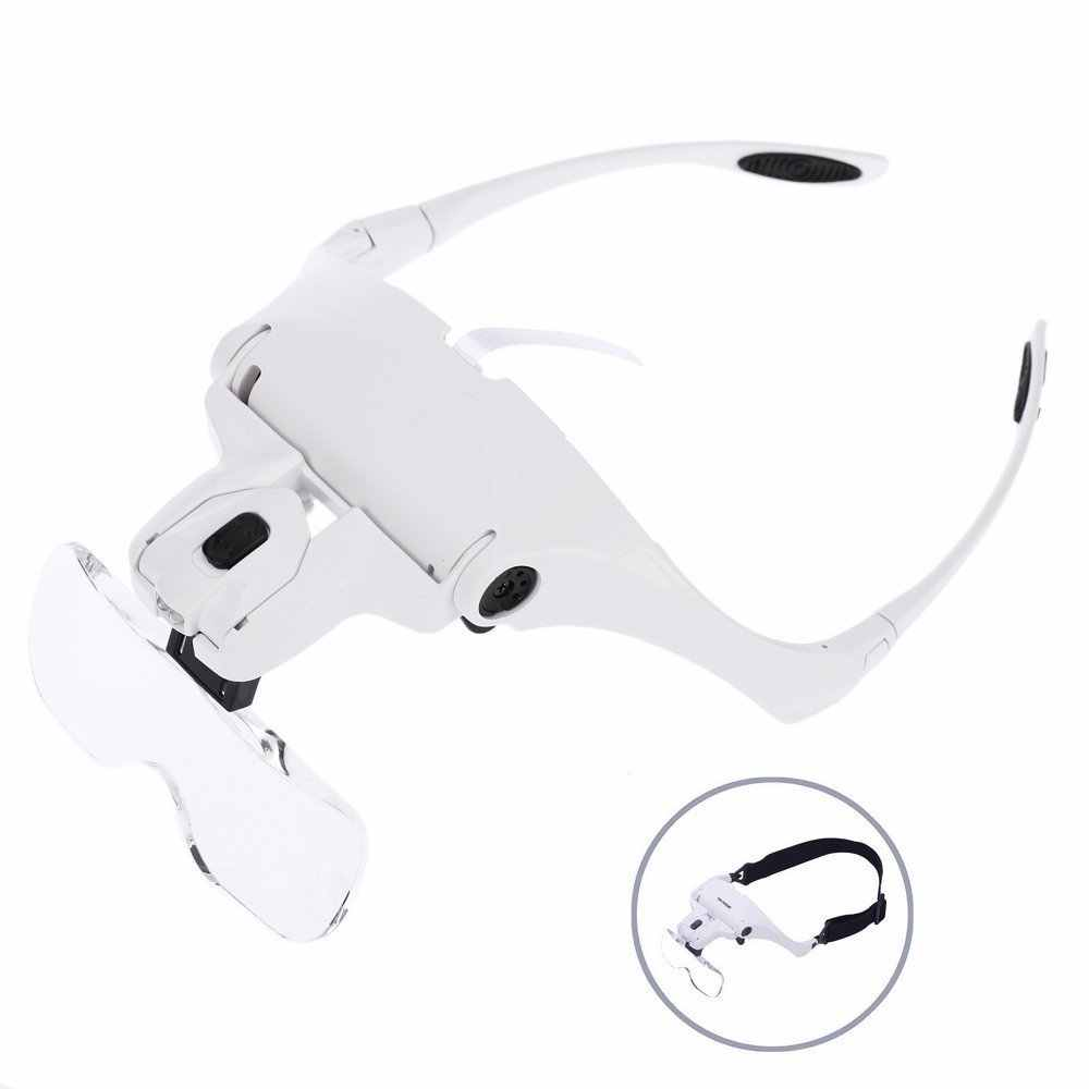 5ee1201bb5 Headband Magnifier Head-mounted With 2 LED Light Hands Free Magnifying  Glasses Loupe Visor For