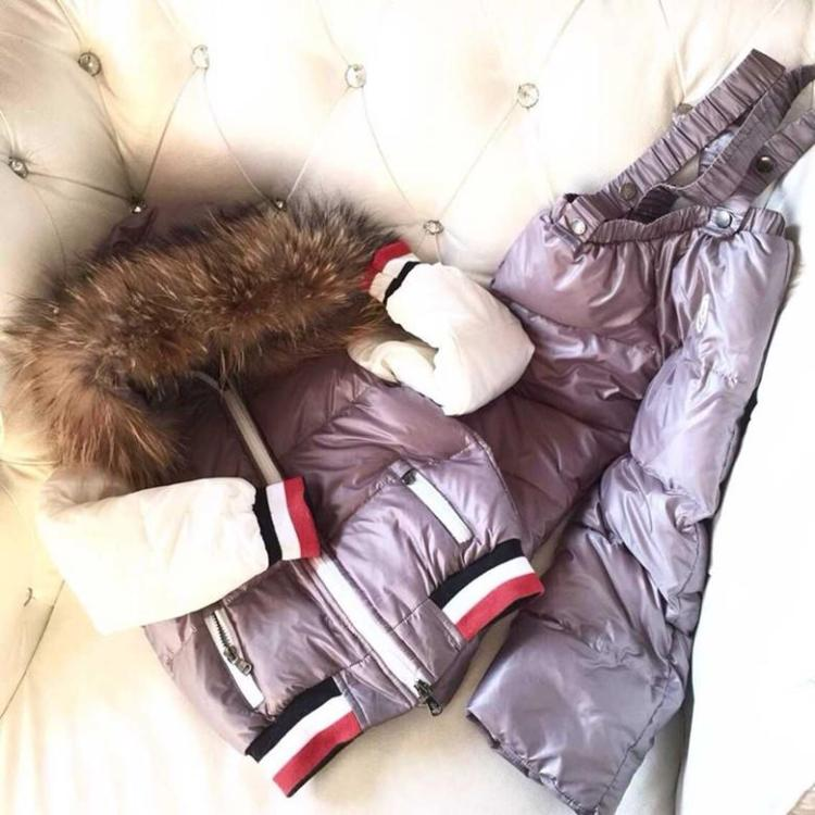 2016 Winter jacket Boy down parka Fashion winter infant child down coat set raccoon fur hooded children bib pants ski suit new army green long raccoon fur collar coat women winter real fox fur liner hooded jacket women bomber parka female ladies fp890