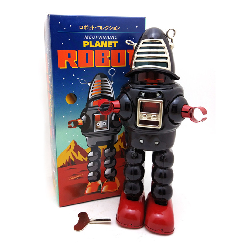 все цены на Classic Vintage Clockwork Wind Up Large Robot Photography Children Kids Tin Toys With Key Classic Toys Gift For Children