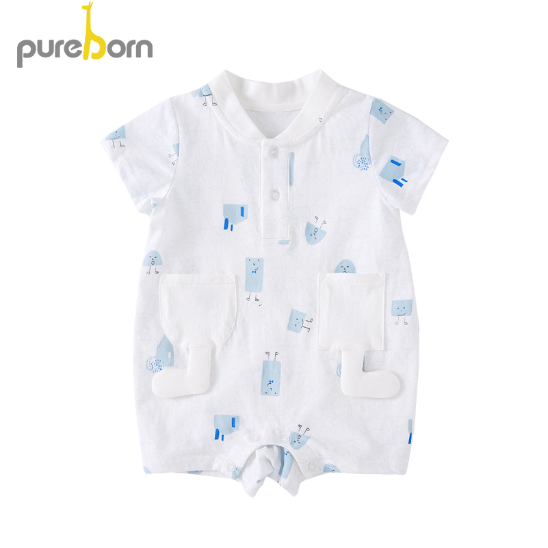 00a3f1cc13d99 Baby Boys Romper Summer Infant Cotton Unisex Newborn Rompers New ...