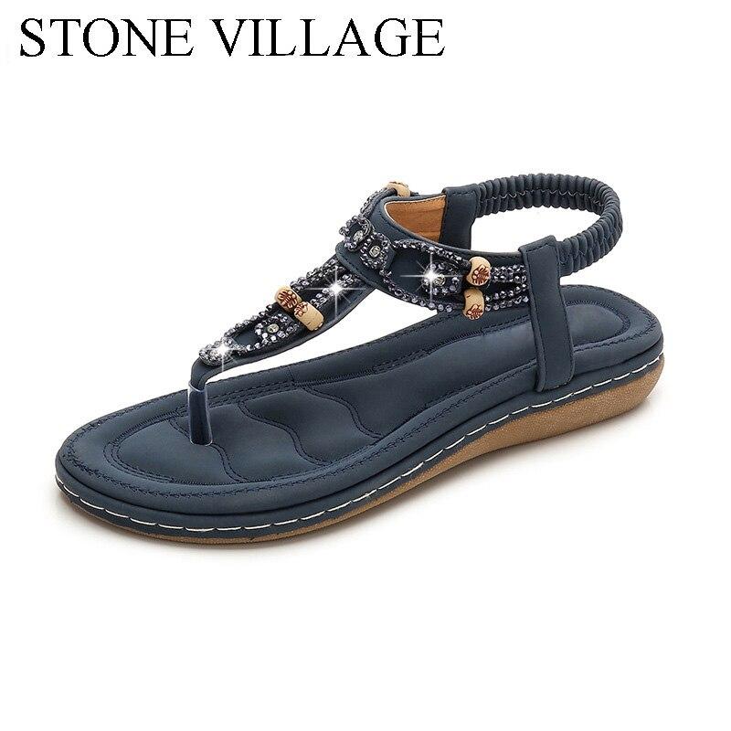 Women Sandals 2020 Flat Summer Women Sandals Crystal Bohemia Ethnic Flat Sandals Flip Flops Casual String Bead Beach Shoes Woman 2