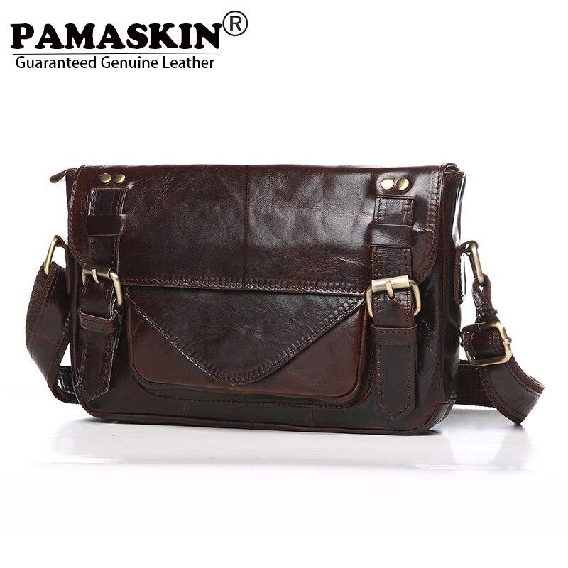 PAMASKIN Brand Premium Cow Leather Vintage Men Shoulder & Cross-body Bags Designer England Style Businessmen Messenger Bag Male