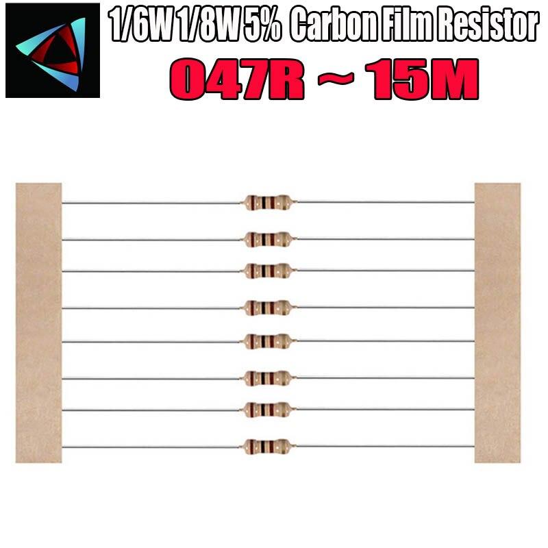 100pcs 1/8W 0.125W 1/8W=1/6W 5% Carbon Film Resistor 0.47R ~ 15M 100R 220R 330R 1K 2.2K 3.3K 4.7K 10K 22K 47K 100K 0.47 10M  Ohm