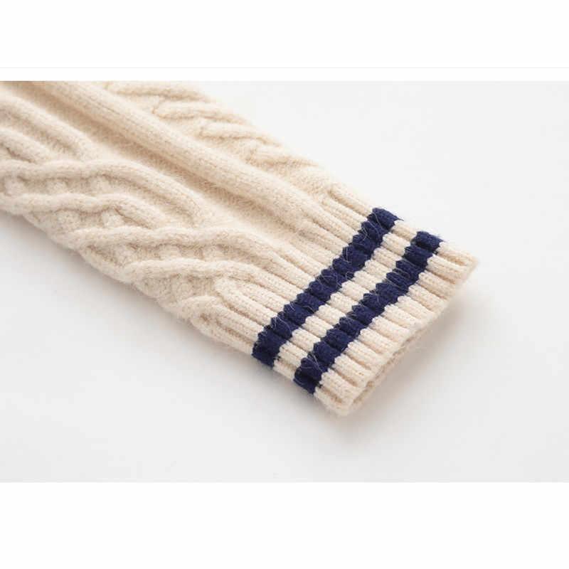 כבל סרוג צמר עבה ילדים בנות 2 עד 5 שנים חורף ילדי סוודר חם מזדמן אופנה צלעות מקרית hem סוודרים להאריך ימים יותר