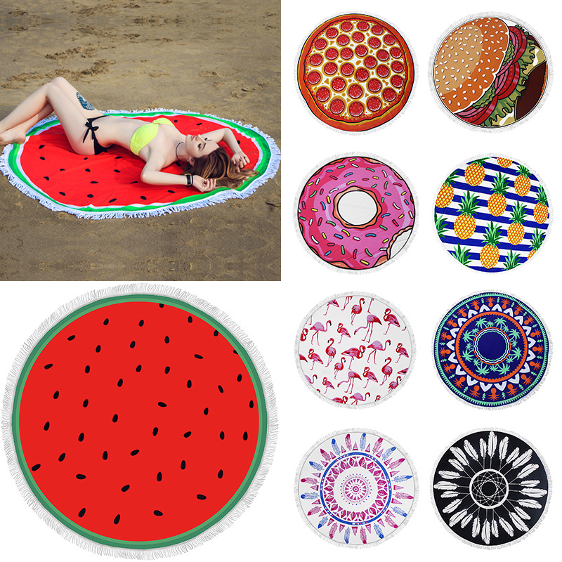 Donut Pizza Pineapple Beach Towel Microfiber Toalla Redonda Boheme Terry Towels Polyster Tablecloth Serviette De Plage Ronde