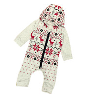 2017 Christmas Children Baby Girl Clothes Infant Deer Hooded Romper Jumpsuit Outfits Newborn Kids Costume Boy