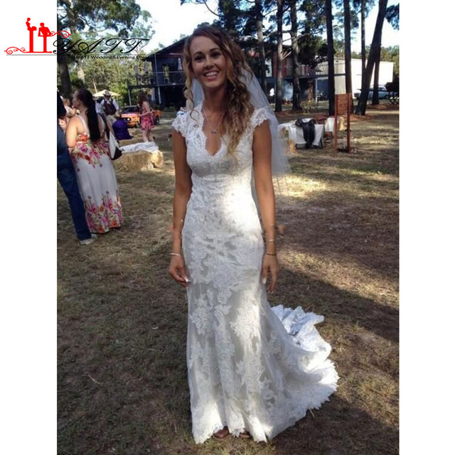 91f3a41a5a05 Vintage High Low Wedding Dresses Online 2017 Sexy Sheer V-Neck Capped  Sleeves Pleats Country Style White Lace Boho Wedding Gowns