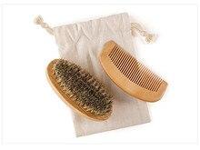 2 pcs / Set 100% Rambut Babi Bulu Sikat Jenggot: Putaran Militer Bambu untuk Pria Sikat Stroke. Cocok untuk digunakan dengan Minyak Jenggot Rambut Wajah