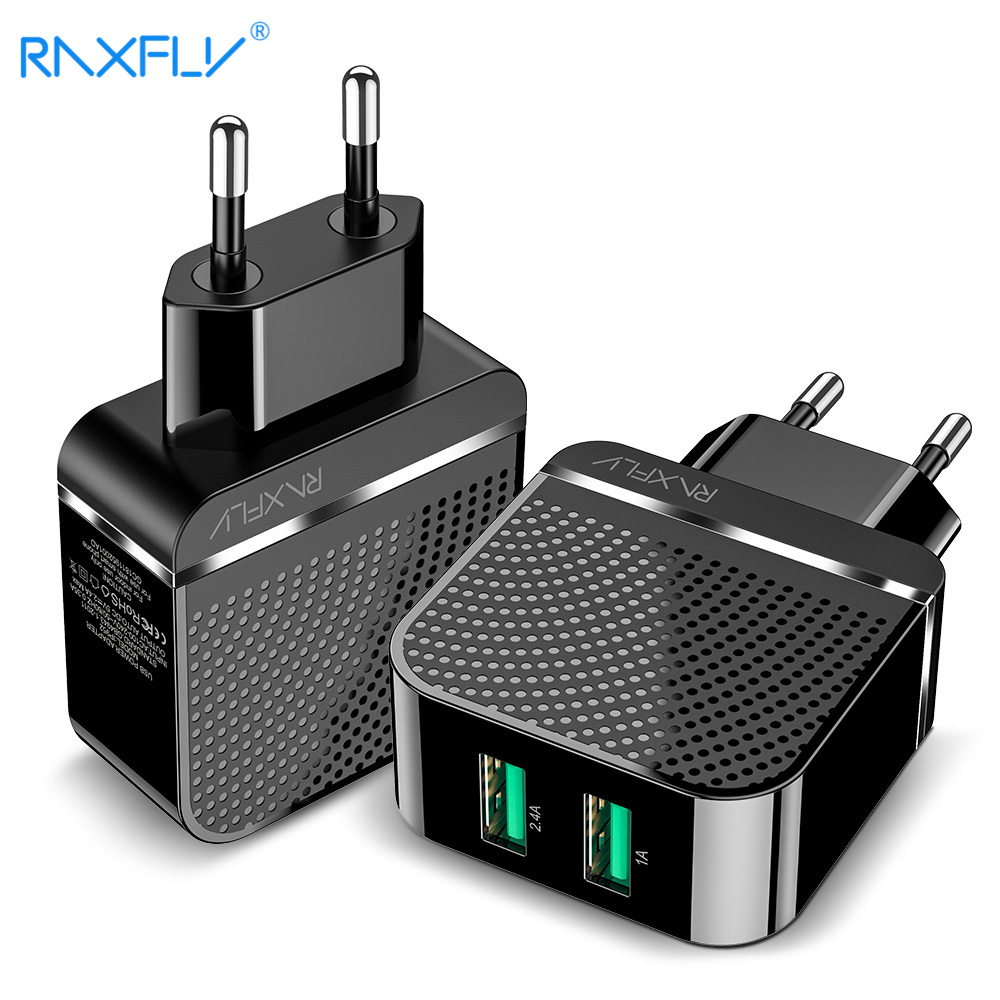 RAXFLY USB Phone Charger For One Plus 5T 6 Wall Travel Charging For IPhone X XS Max XR Dual Ports Fast Charge For Samsung S8 S9
