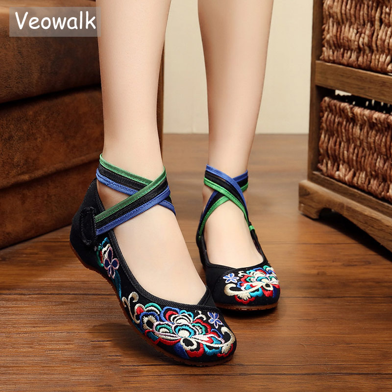 Veowalk Handmade Rainbow Ankle Strap Women Canvas Embroidered Ballet Flats Old Beijing Embroidery Female Casual Dance ShoesVeowalk Handmade Rainbow Ankle Strap Women Canvas Embroidered Ballet Flats Old Beijing Embroidery Female Casual Dance Shoes